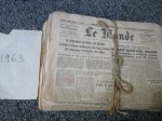 """Bunch of old newpapers from the 60s """"Le Monde"""""""