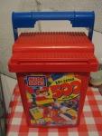 """Bin of """"Mega Blocks,"""" similar to Lego"""