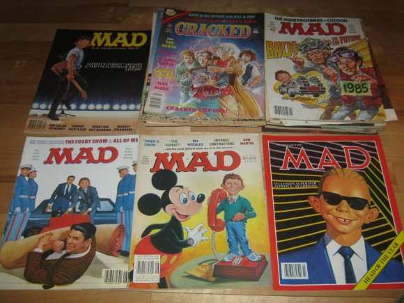 vintage 80s cracked and MAD magazines