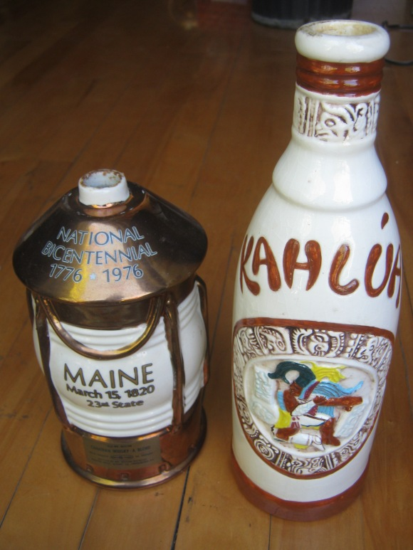 old kahlua bottle, omb bottle